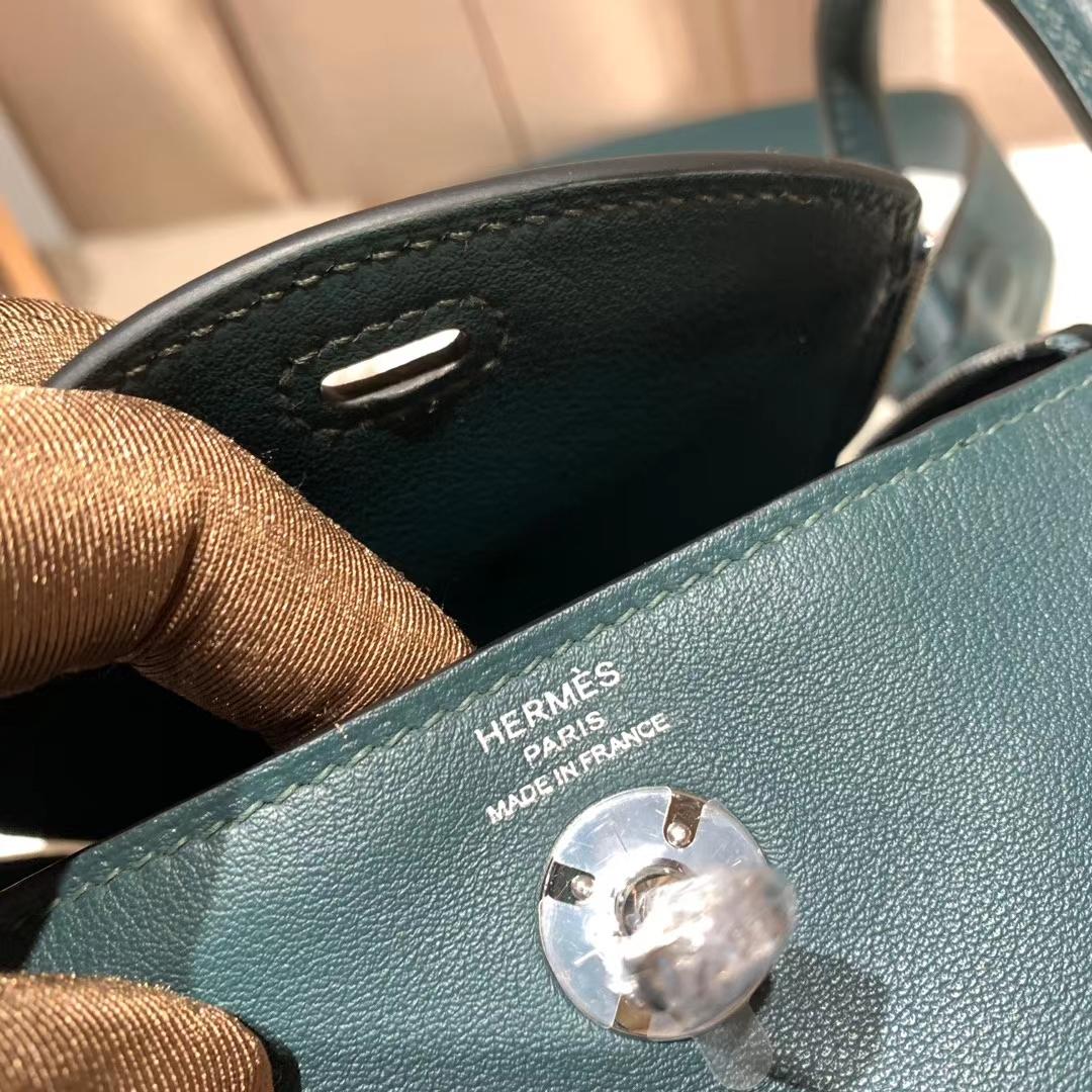 爱马仕中国官网 Mini Lindy 19cm Swift 6O松柏绿 银扣