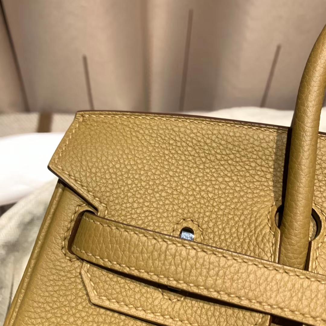 爱马仕官网 Birkin 25cm Togo U8青铜色 银扣 蜡线手缝