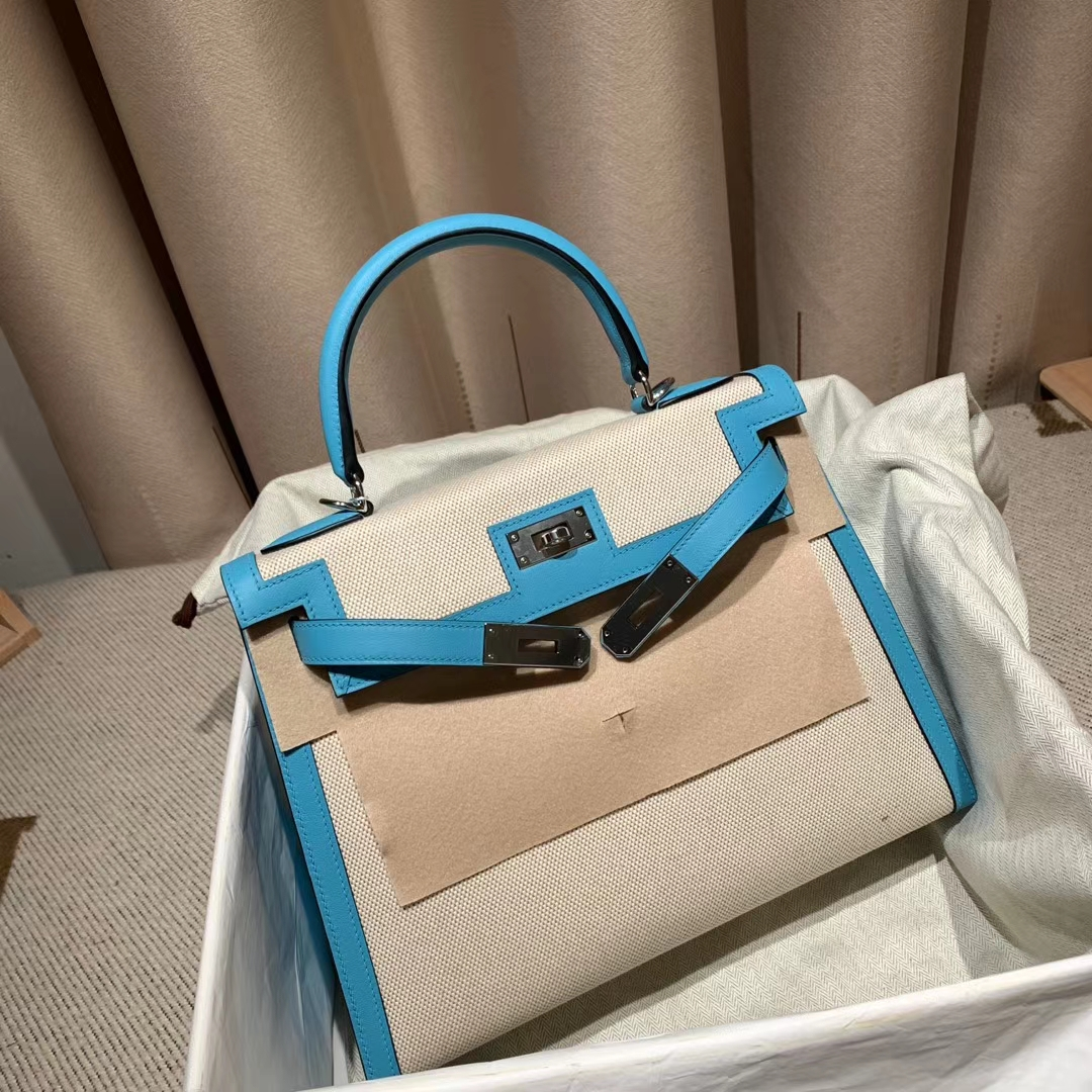 Hermes爱马仕 Kelly 28cm Swift/Toile H P3北方蓝 银扣 2020最美帆布系列