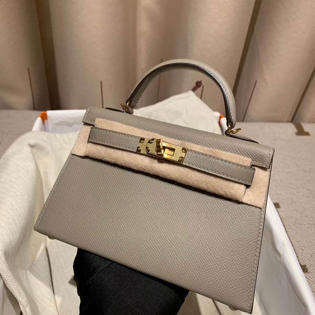 爱马仕Hermes Mini Kelly二代 Epsom M8沥青灰 金扣