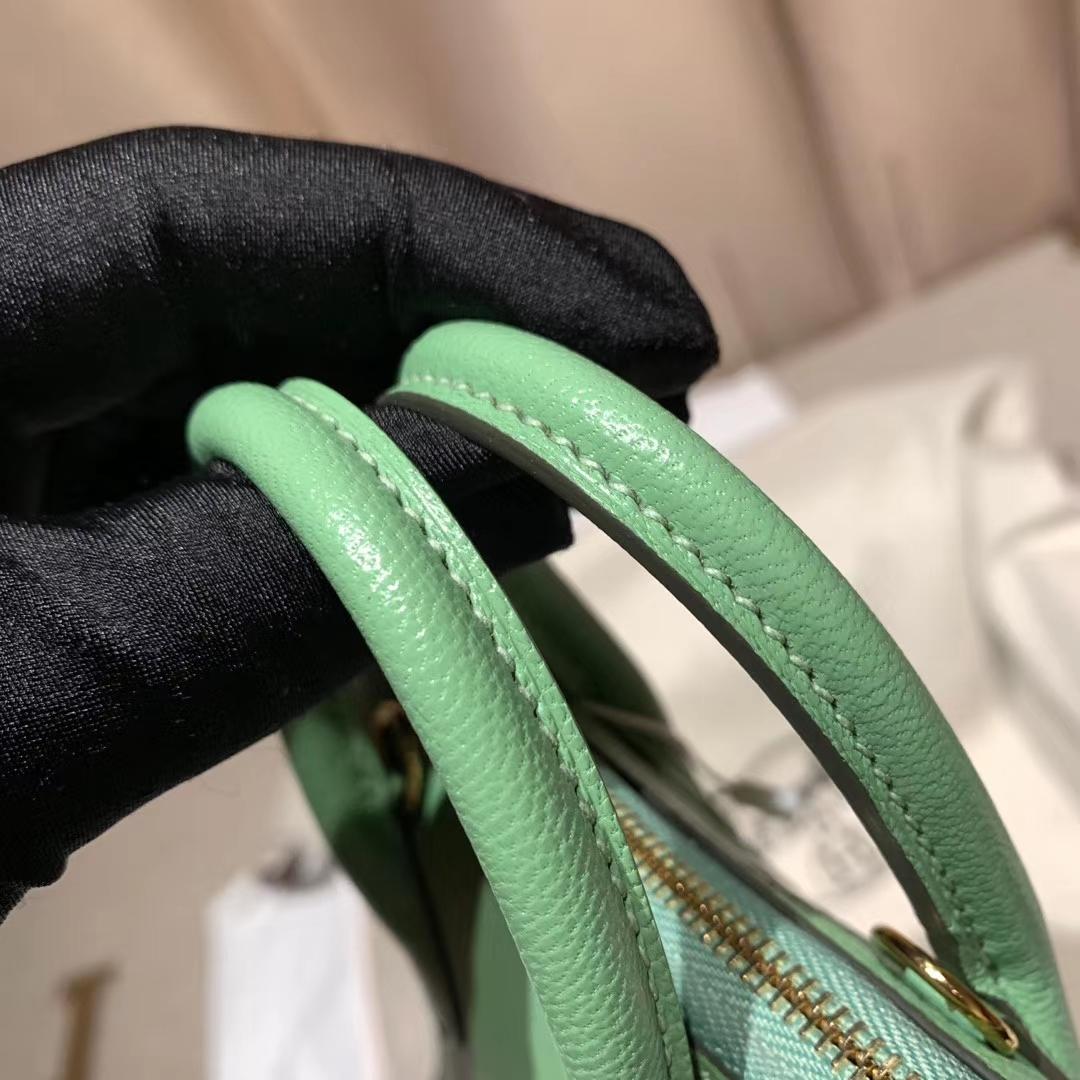爱马仕包包 Bolide Mini 16cm Chevre山羊皮 3I牛油果绿 银扣
