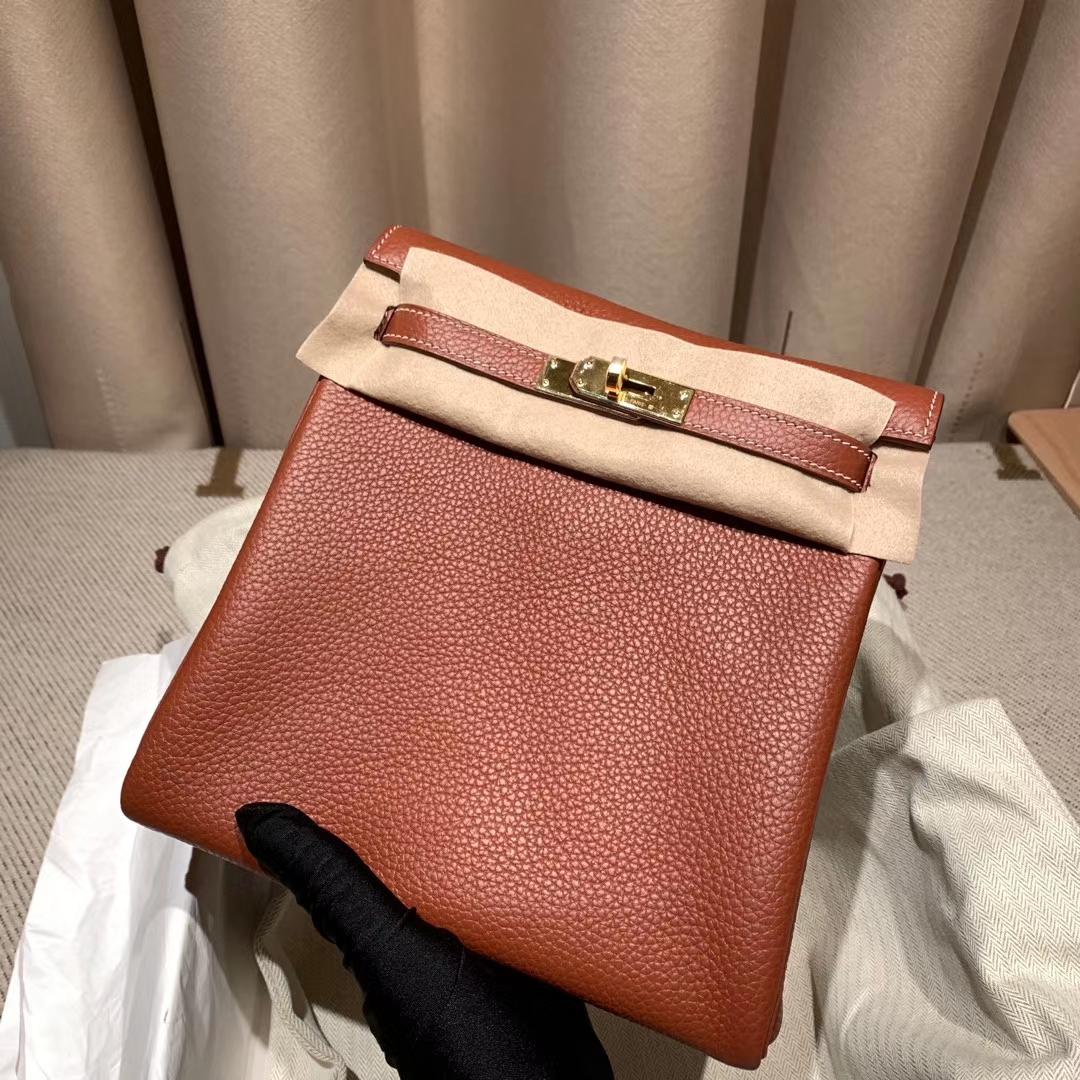 爱马仕包包 Kelly Ado 22cm Clemence 4E枫叶棕 金扣