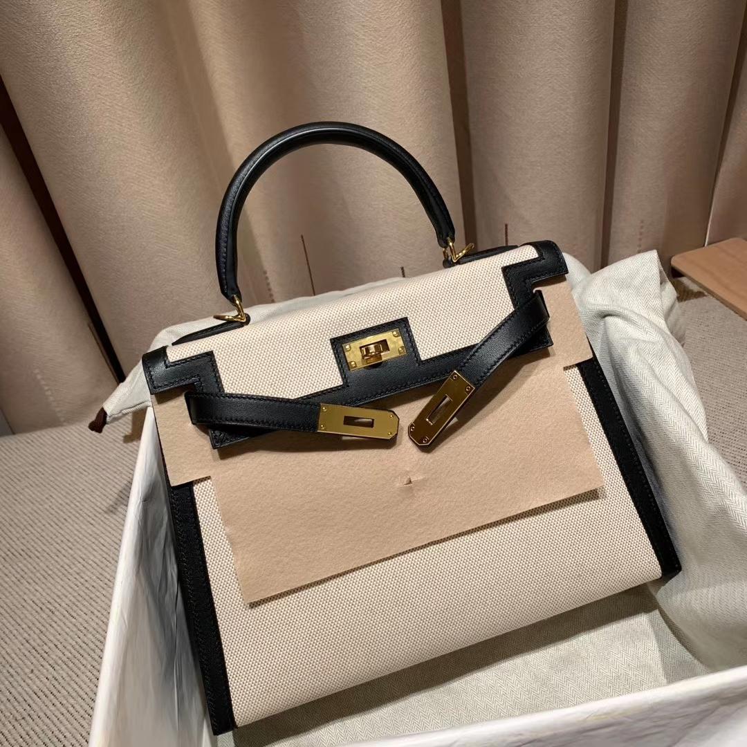 Hermes爱马仕 Kelly 28cm Swift/Toile H 89黑色 金扣 2020最美帆布系列