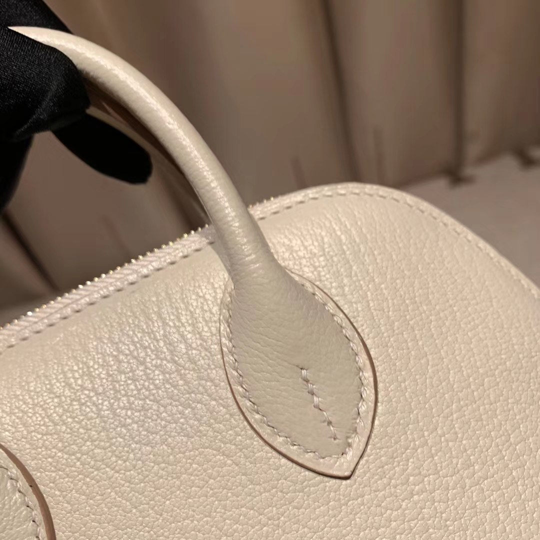 爱马仕包包 Bolide Mini 16cm Chevre山羊皮 10奶昔白 金扣