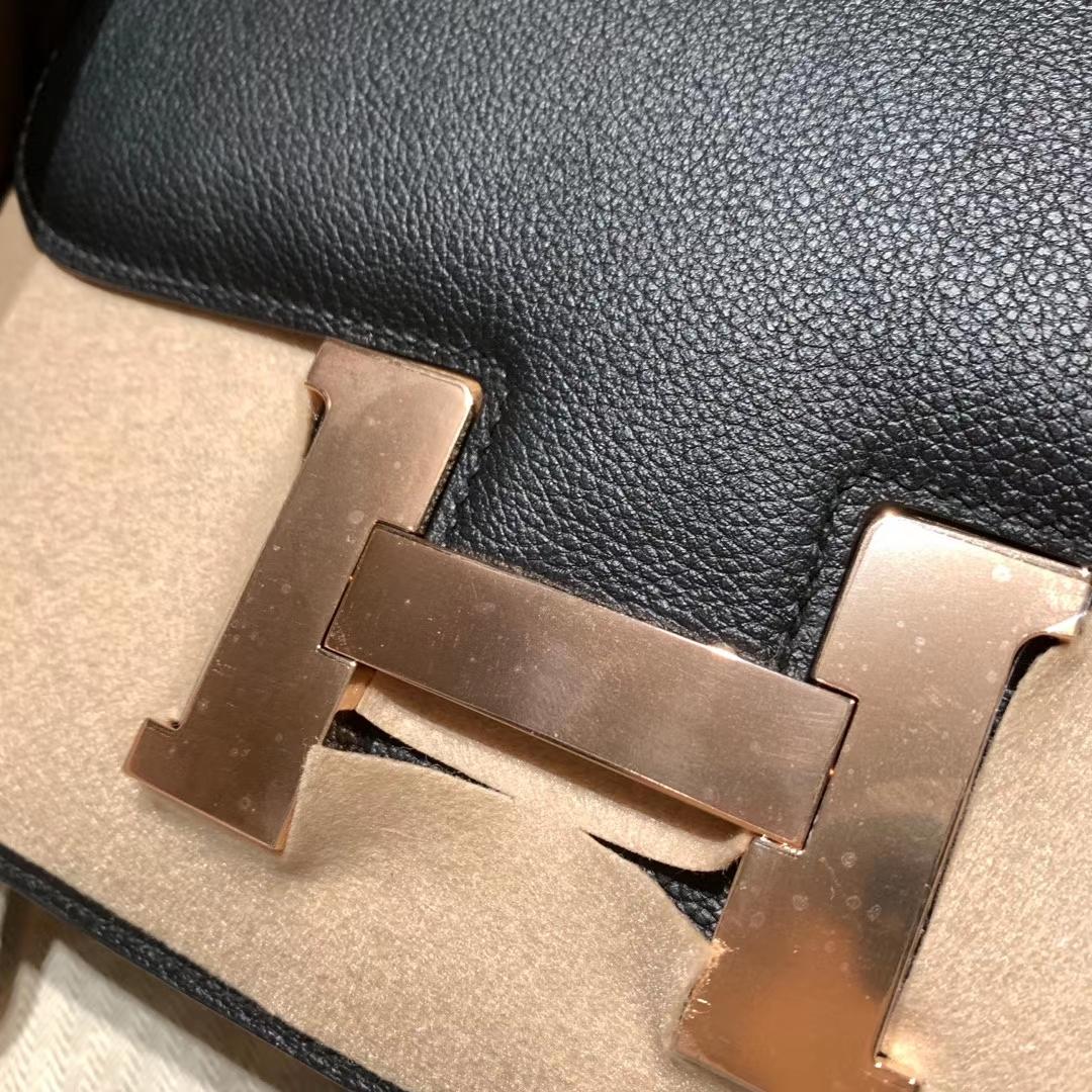 Hermes爱马仕 Constance 24cm Evercolor 89黑色 玫瑰金扣