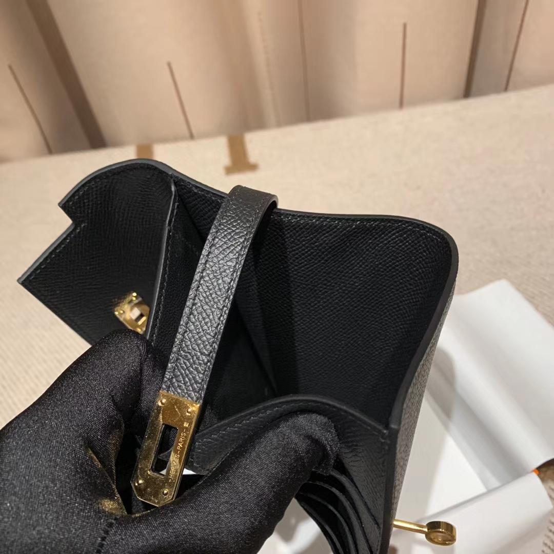 Hermes爱马仕 Kelly Compacr Waller Epsom 89黑色 金扣 小版的Kelly钱包