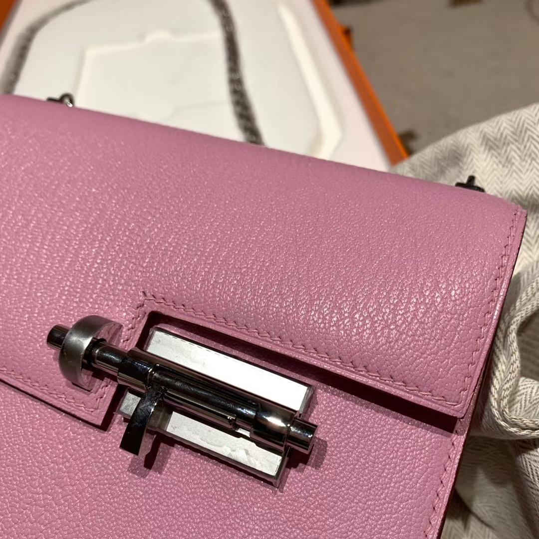 爱马仕包包 Verrou Mini 17cm Chevre X9锦葵紫 银扣