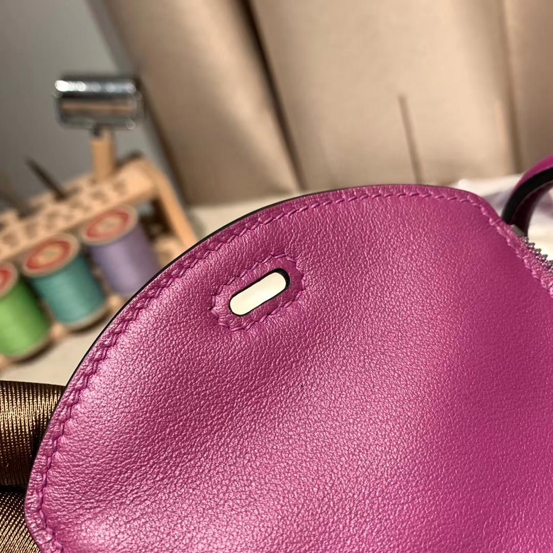 爱马仕中国官网 Mini Lindy 19cm Swift P9海葵紫 银扣