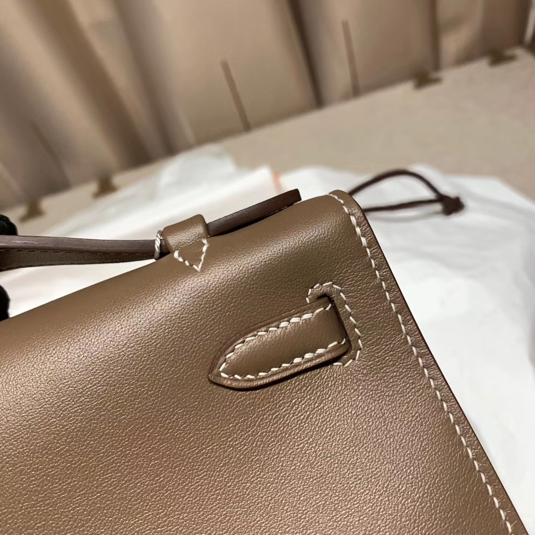 Hermes爱马仕 Mini Kelly Pochette 一代 22cm Swift 18大象灰 金扣