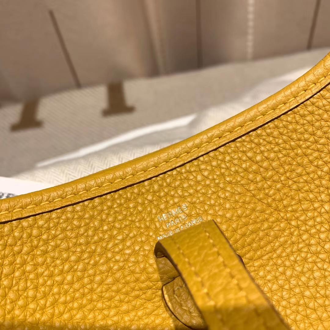 Hermes爱马仕 Evelyn 16cm Clemence Tc皮 9D琥珀黄 银扣