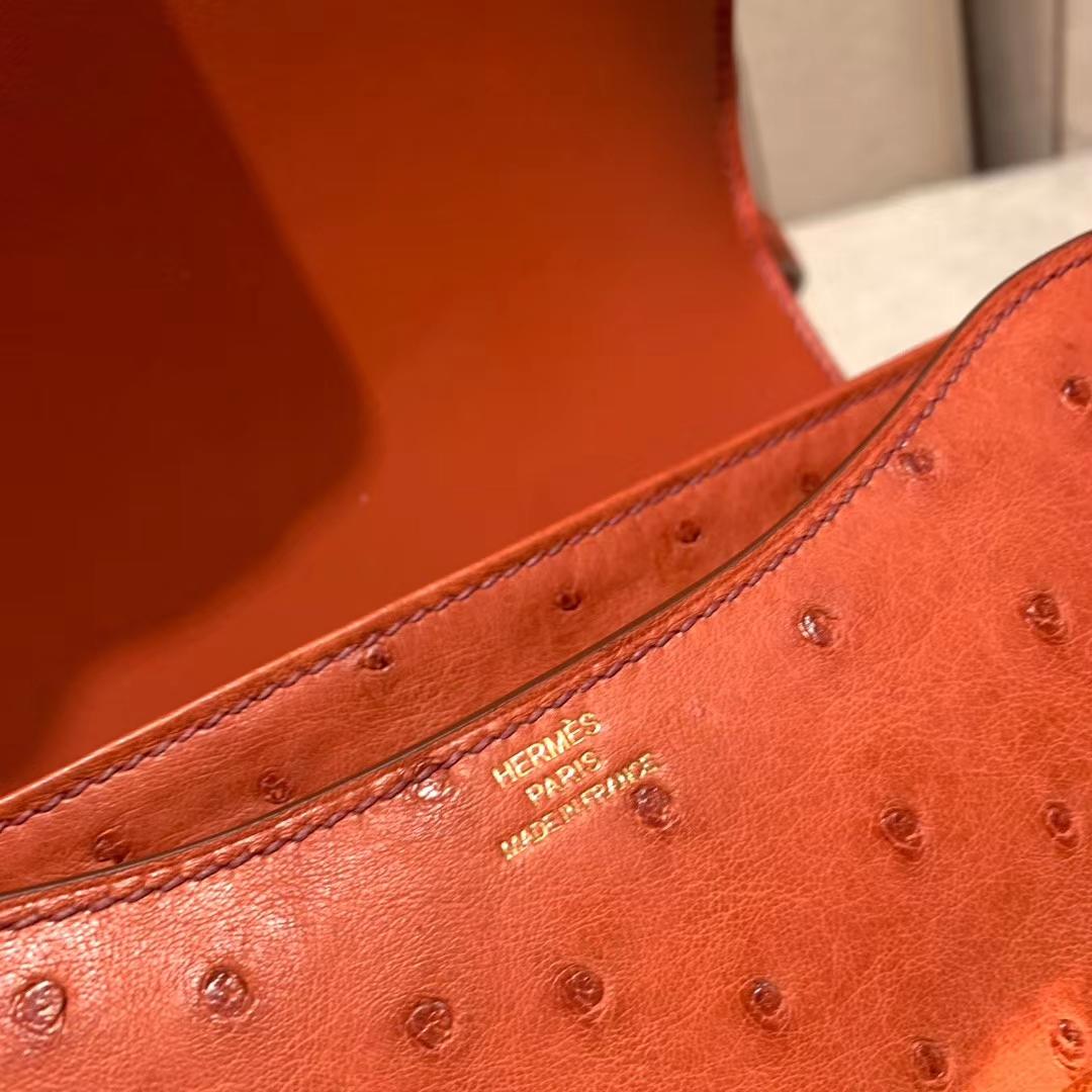 爱马仕官网 Constance 19cm Ostrich 南非鸵鸟 R1砖红色 金扣