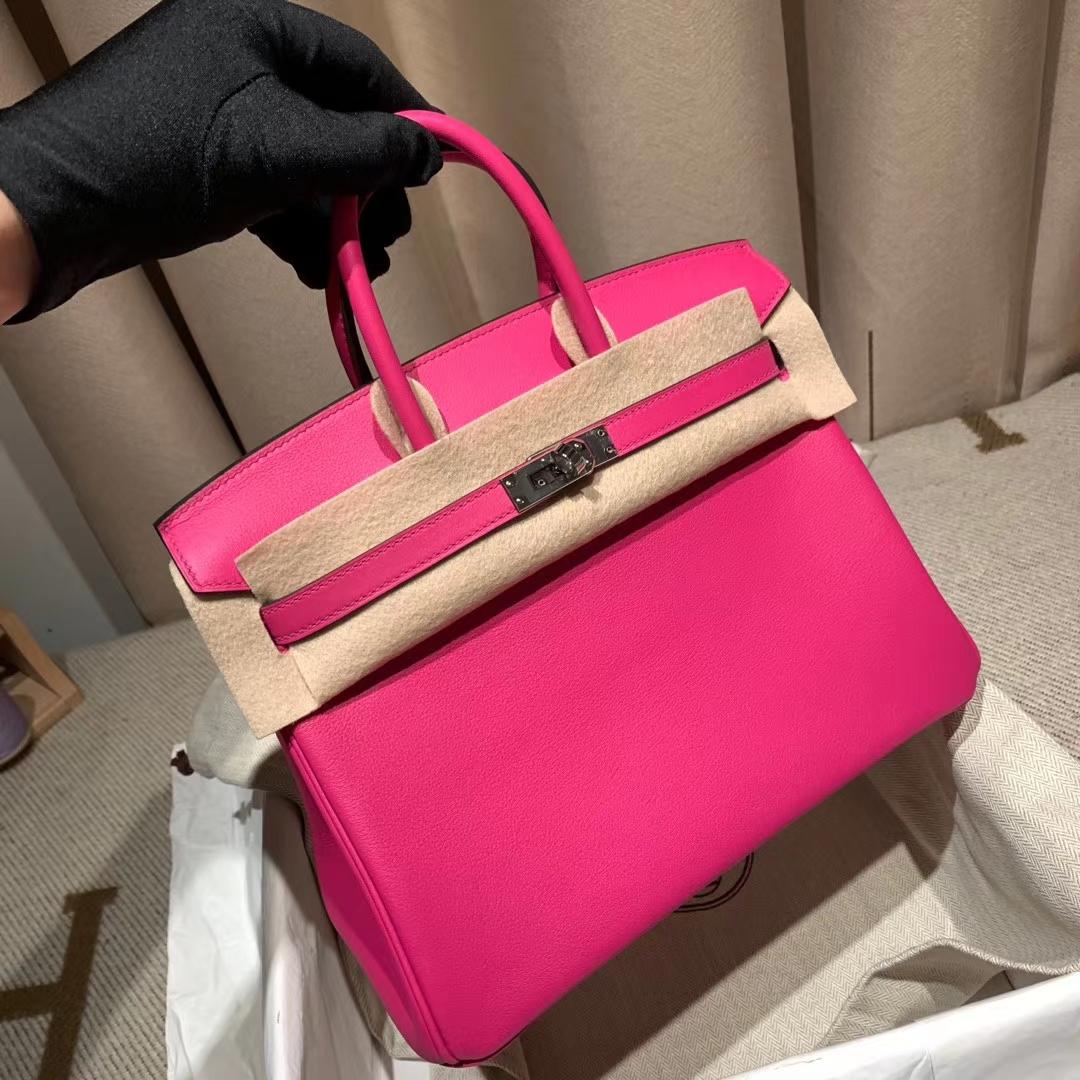 爱马仕包包 Birkin 25cm Swift L3玫瑰紫 银扣