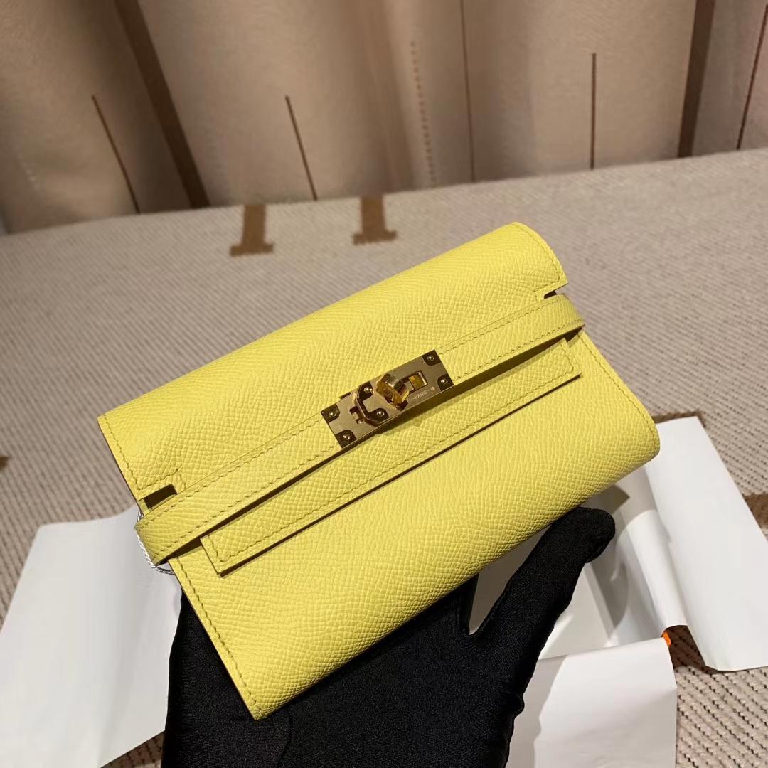 Hermes爱马仕 Kelly Compacr Waller Epsom C9鹅蛋黄 金扣 小版的Kelly钱包