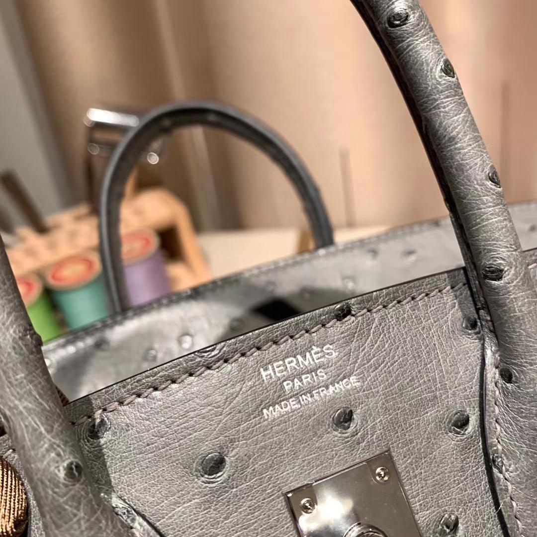 爱马仕官网 Birkin 25cm Ostrich 南非鸵鸟 8F锡器灰 银扣