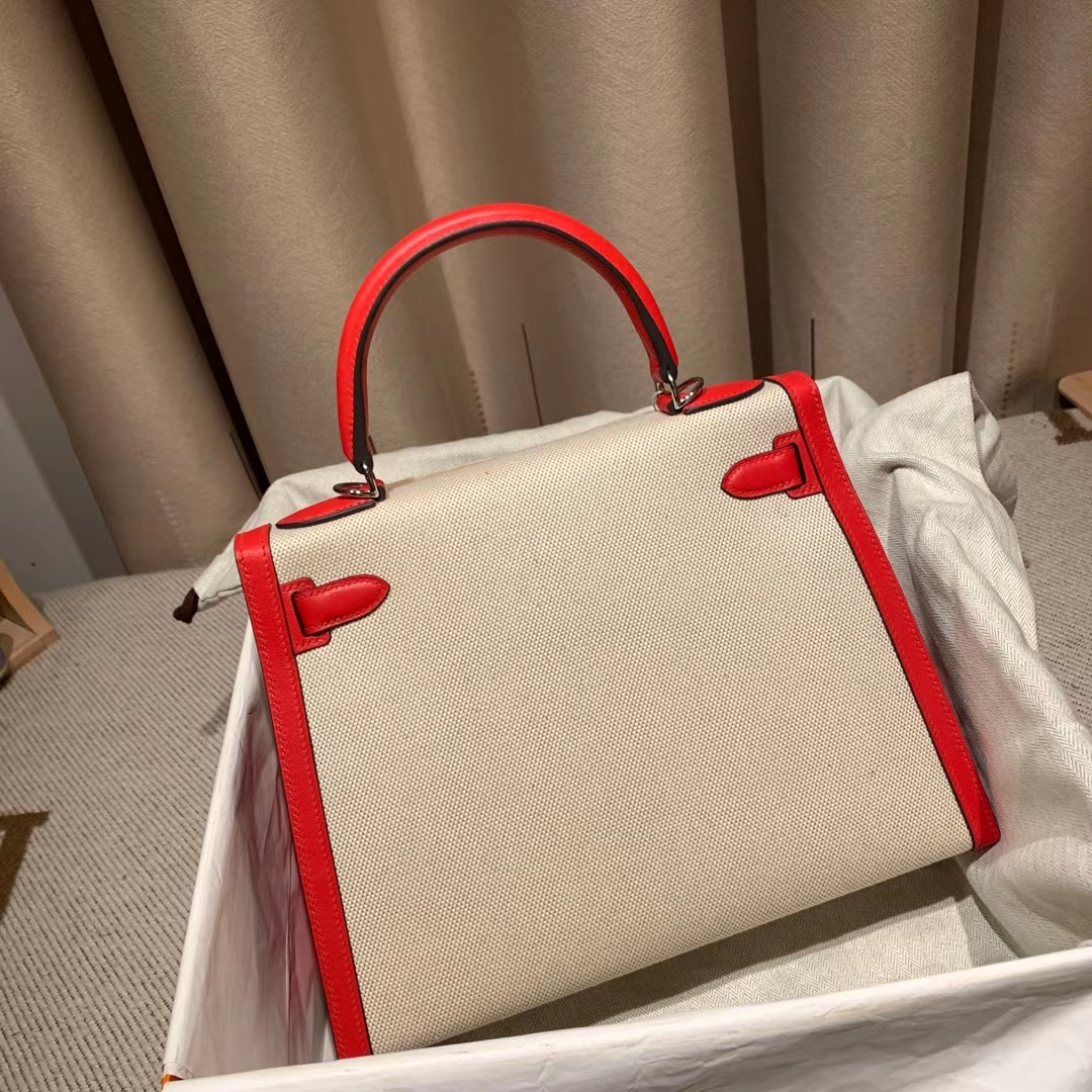 Hermes爱马仕 Kelly 28cm Swift/Toile H S3心红色 银扣 2020最美帆布系列