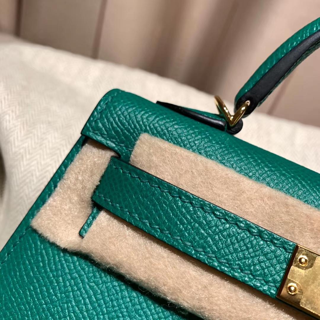 爱马仕包包官网 Mini Kelly 19cm Epsom U4丝绒绿 金扣
