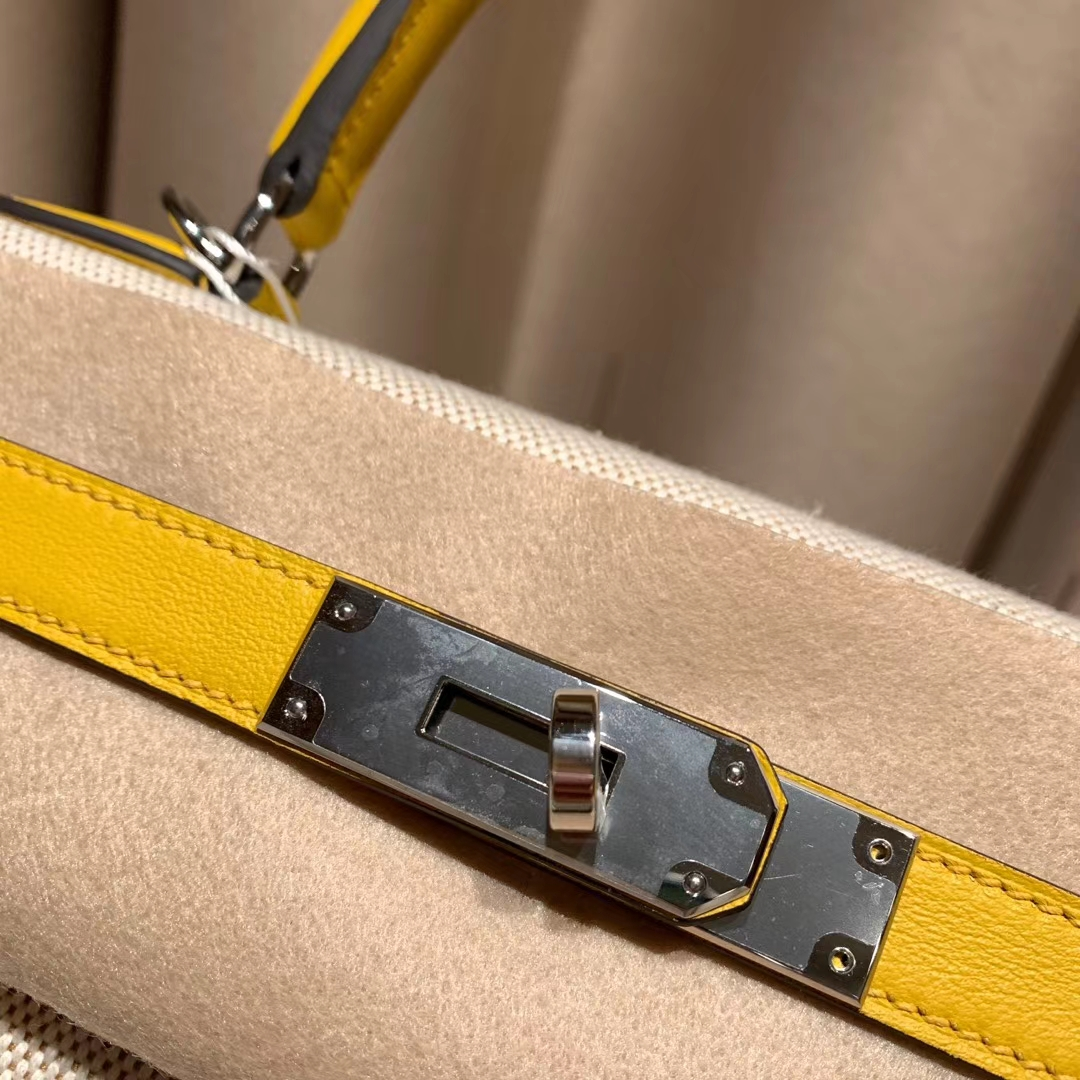 Hermes爱马仕 Kelly 28cm Swift/Toile H 9D琥珀黄 银扣 2020最美帆布系列