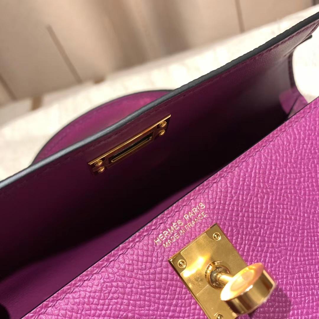 爱马仕包包官网 Mini Kelly 19cm Epsom P9海葵紫 金扣