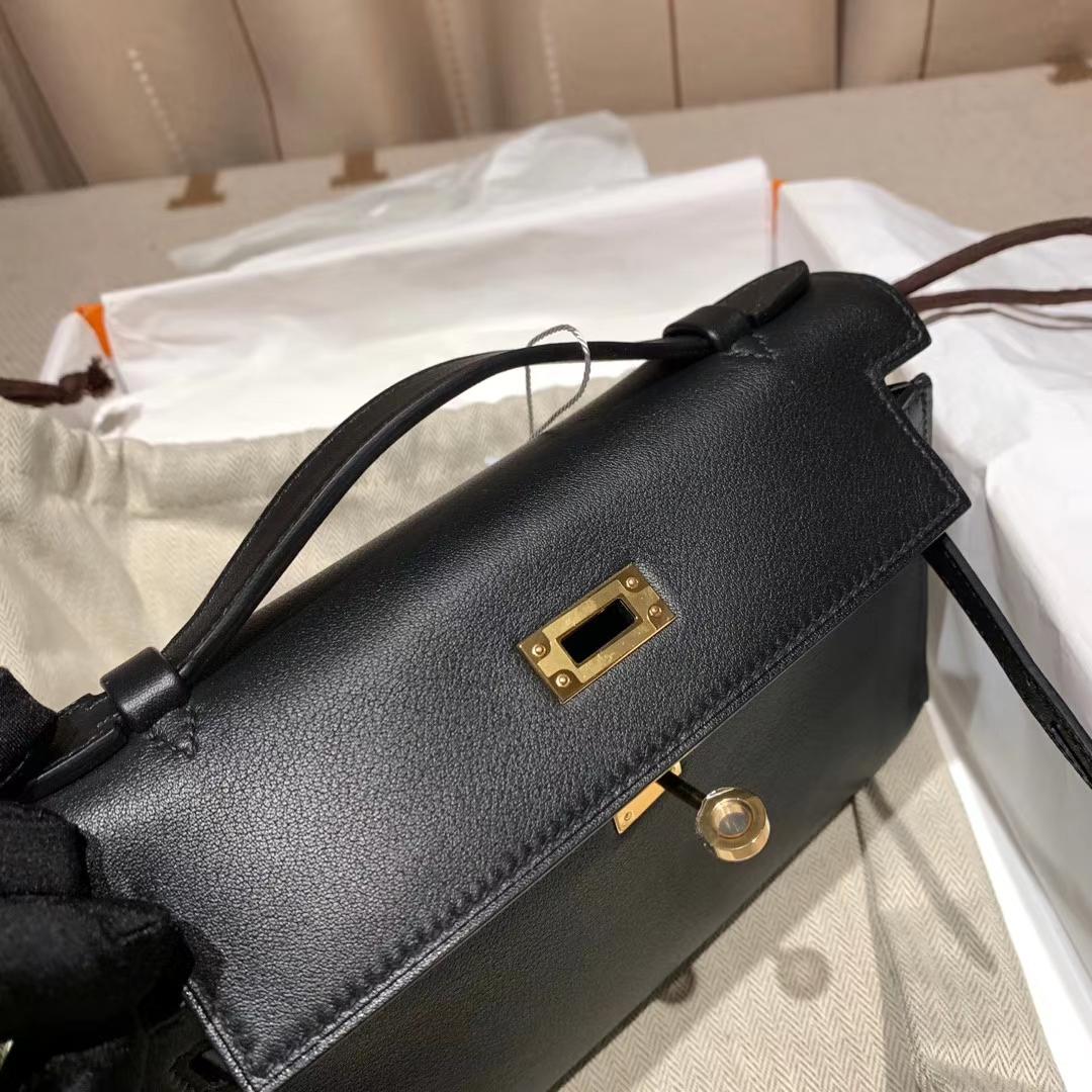 Hermes爱马仕 Mini Kelly Pochette 一代 22cm Swift 89黑色 金扣