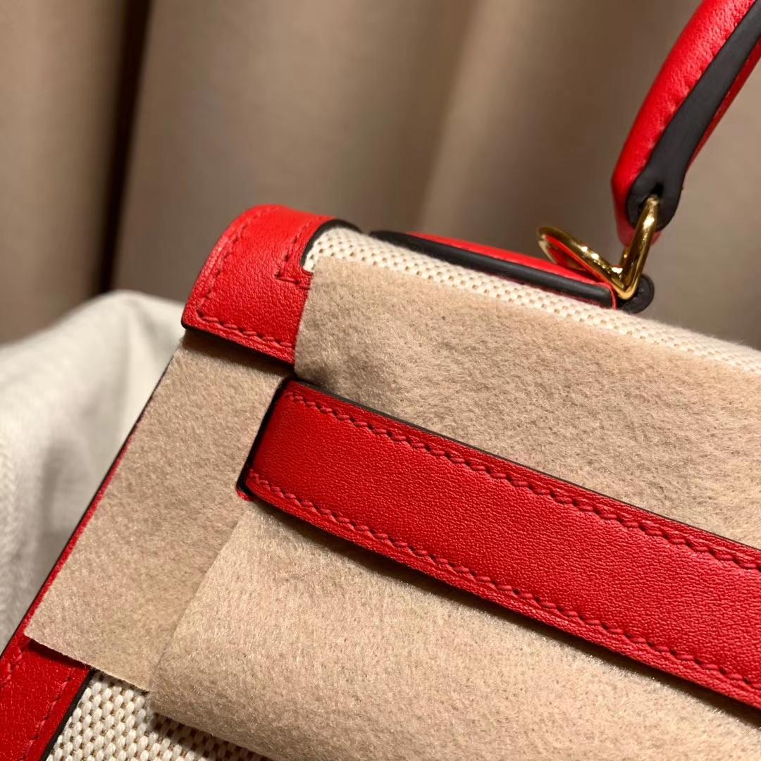Hermes爱马仕 Kelly 28cm Swift/Toile H S3心红色 金扣 2020最美帆布系列