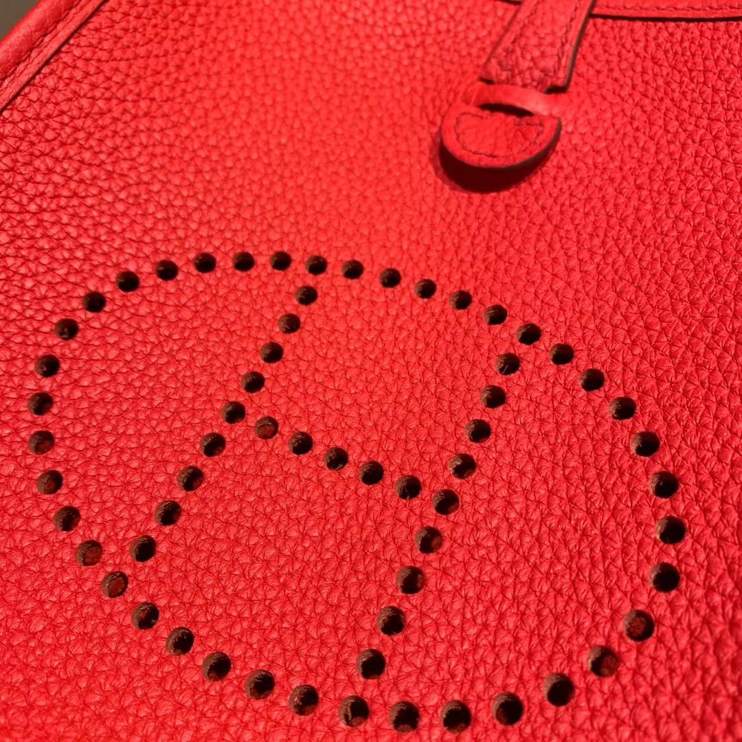 Hermes爱马仕 Evelyn 16cm Clemence Tc皮 S3心红色 银扣