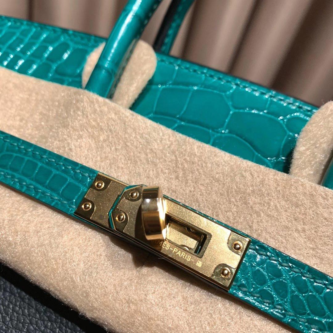 爱马仕包包 Birkin Touch 25cm Togo/方块亮面美洲鳄 60松柏绿拼6Q翡翠绿 金扣