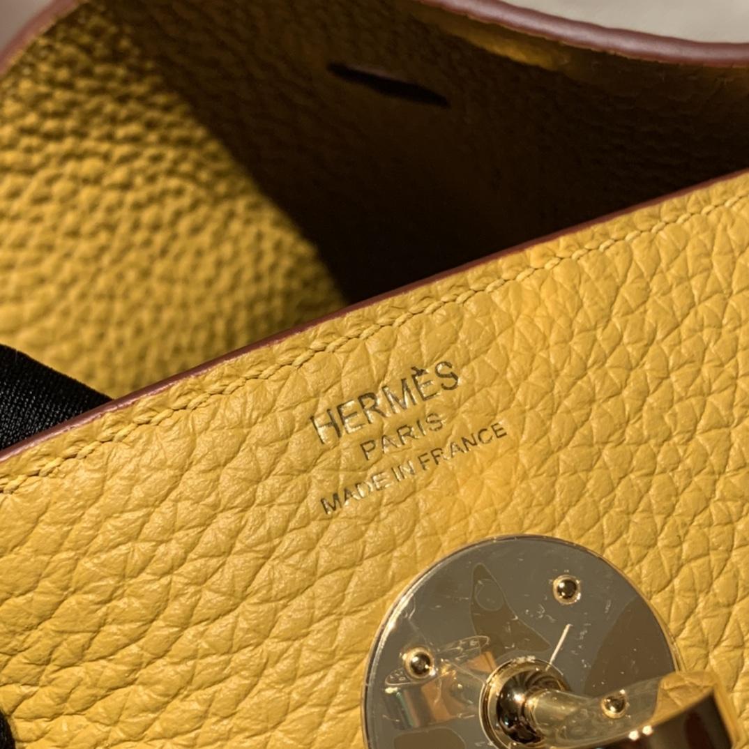 Hermes爱马仕 Lindy 26cm Clemence Tc皮 9D琥珀黄 金扣