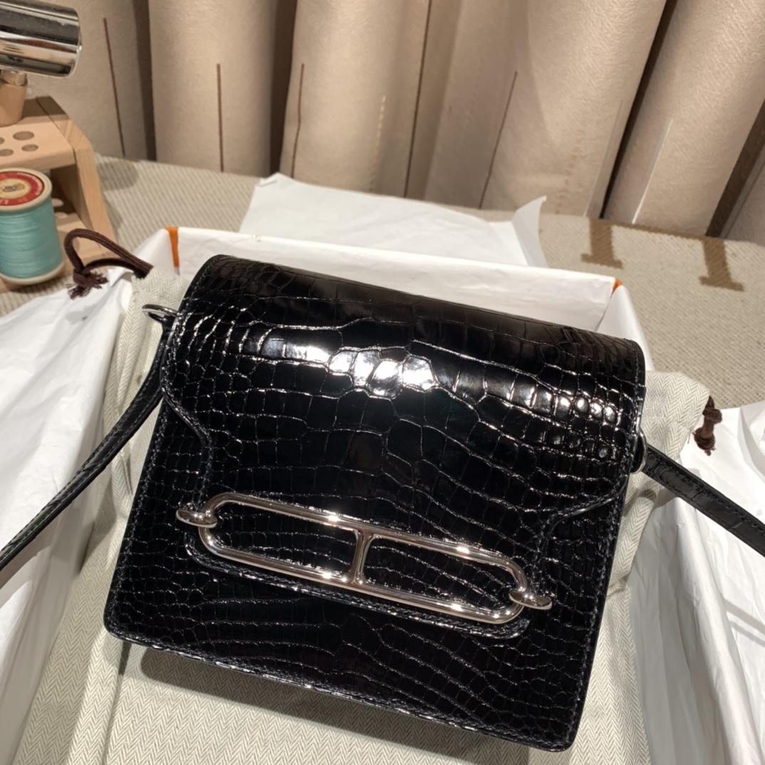 Hermes爱马仕 Roulis 美洲亮面方块鳄鱼 89黑色 银扣 完美品相