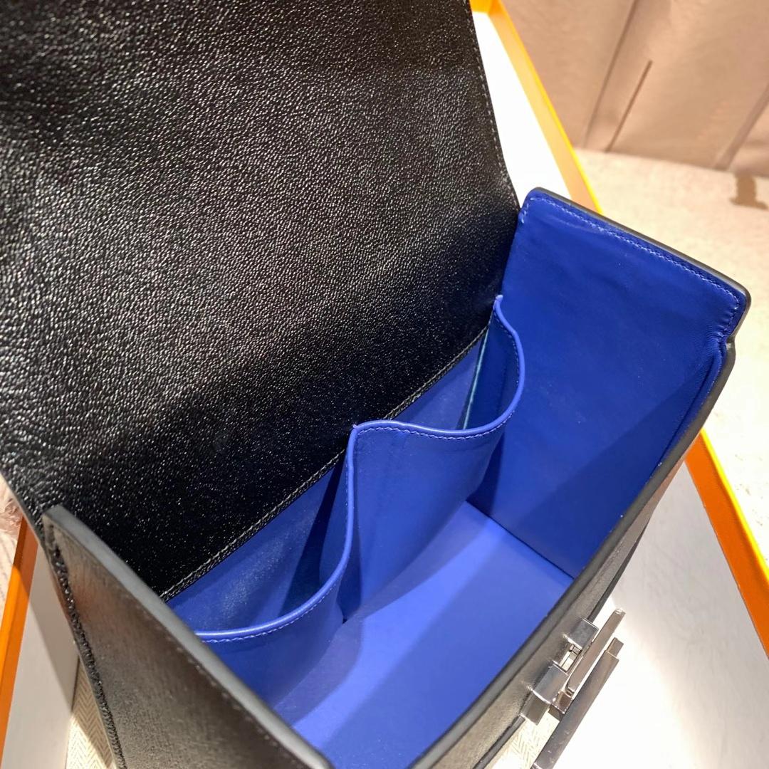 爱马仕包包 Cinhetic盒子包 18cm Chevre Mysore山羊皮 89黑色 银扣