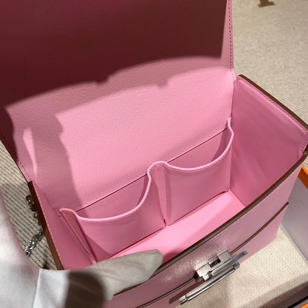爱马仕包包 Cinhetic盒子包 18cm Chevre Mysore山羊皮 X9锦葵紫 银扣