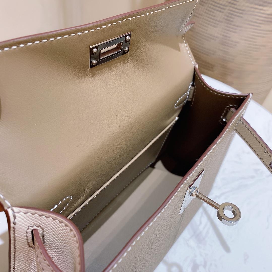 爱马仕包包 MiniKelly20cm18-大象灰拼奶昔白银扣