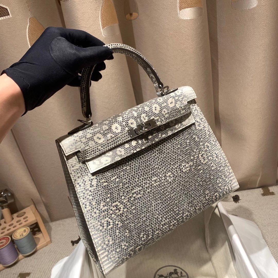 爱马仕包包 Kelly 25cm 蜥蜴皮 1B自然原色 银扣
