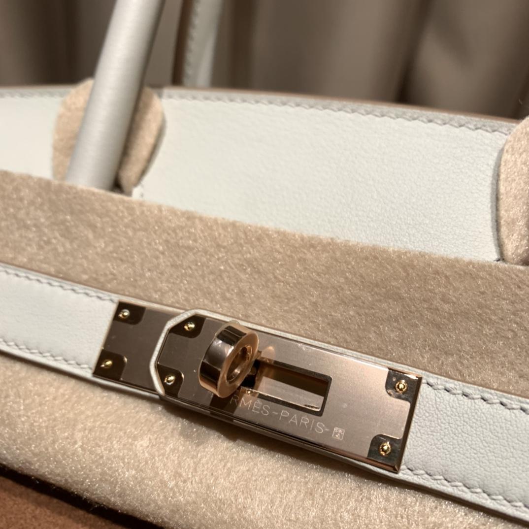 爱马仕铂金包 Birkin 25cm 限量麂皮拼Swift 46巧克力拼80珍珠灰 玫瑰金扣