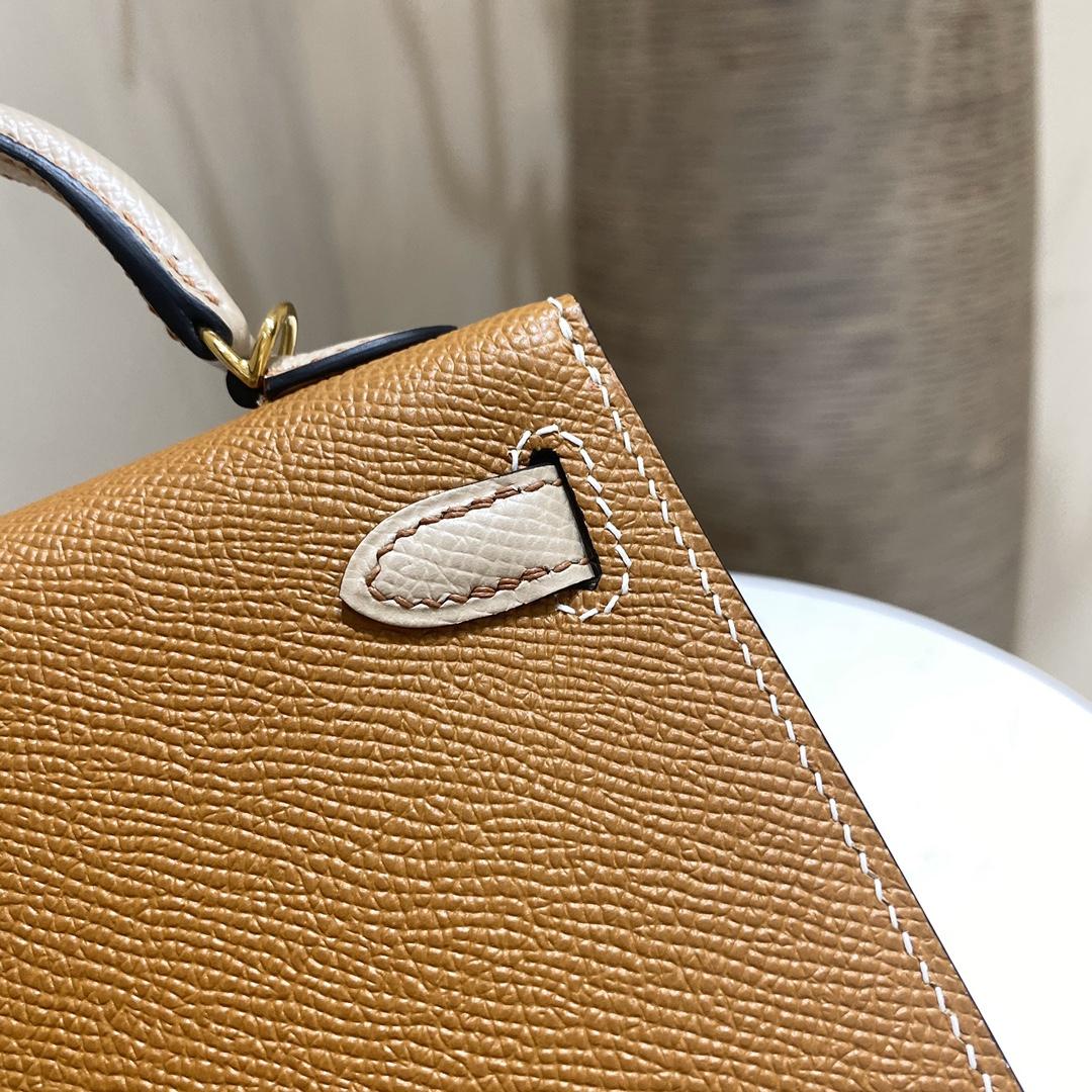 爱马仕包包 MiniKelly20cm37-金棕拼风衣灰金扣