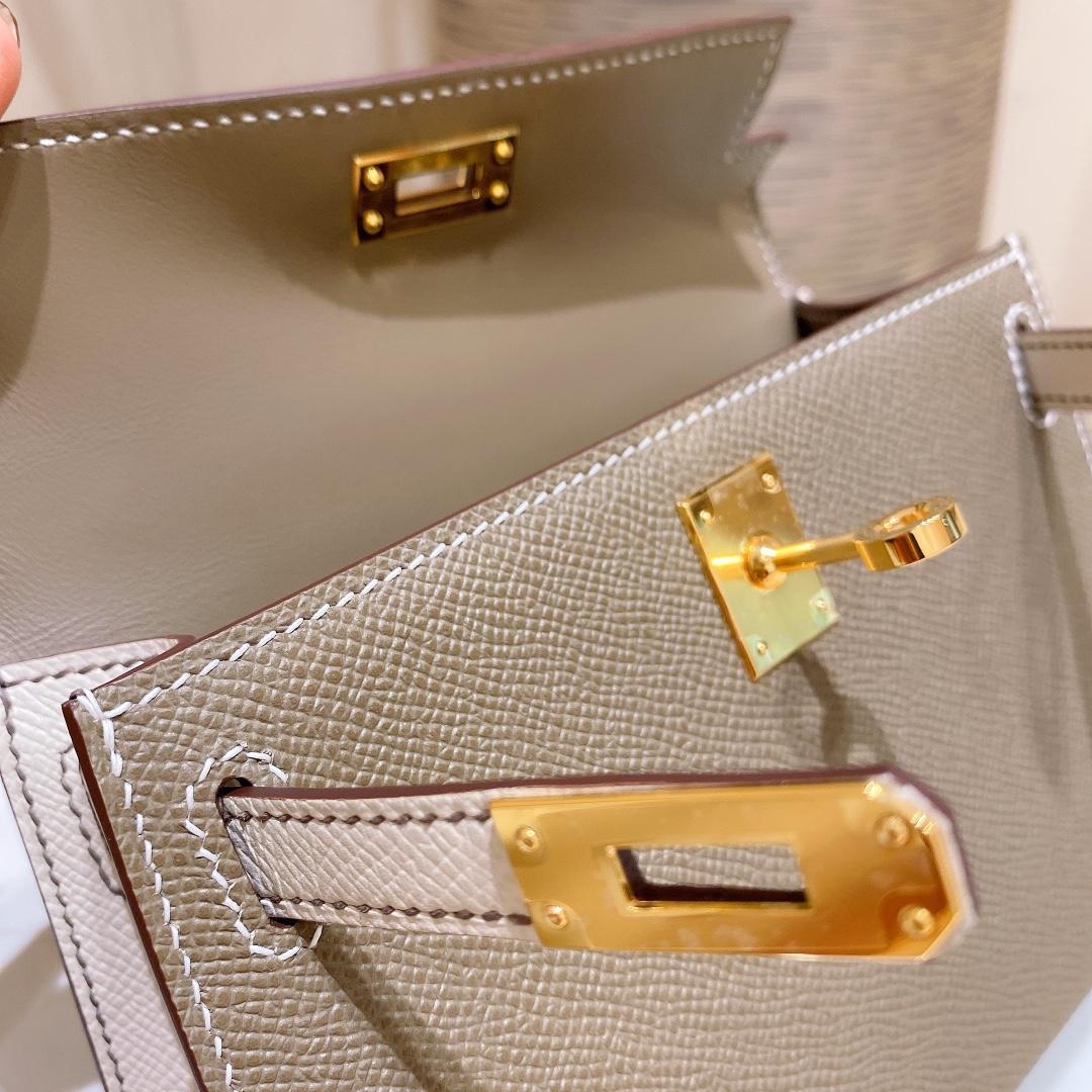 爱马仕包包 MiniKelly20cm18-大象灰拼奶昔白金扣