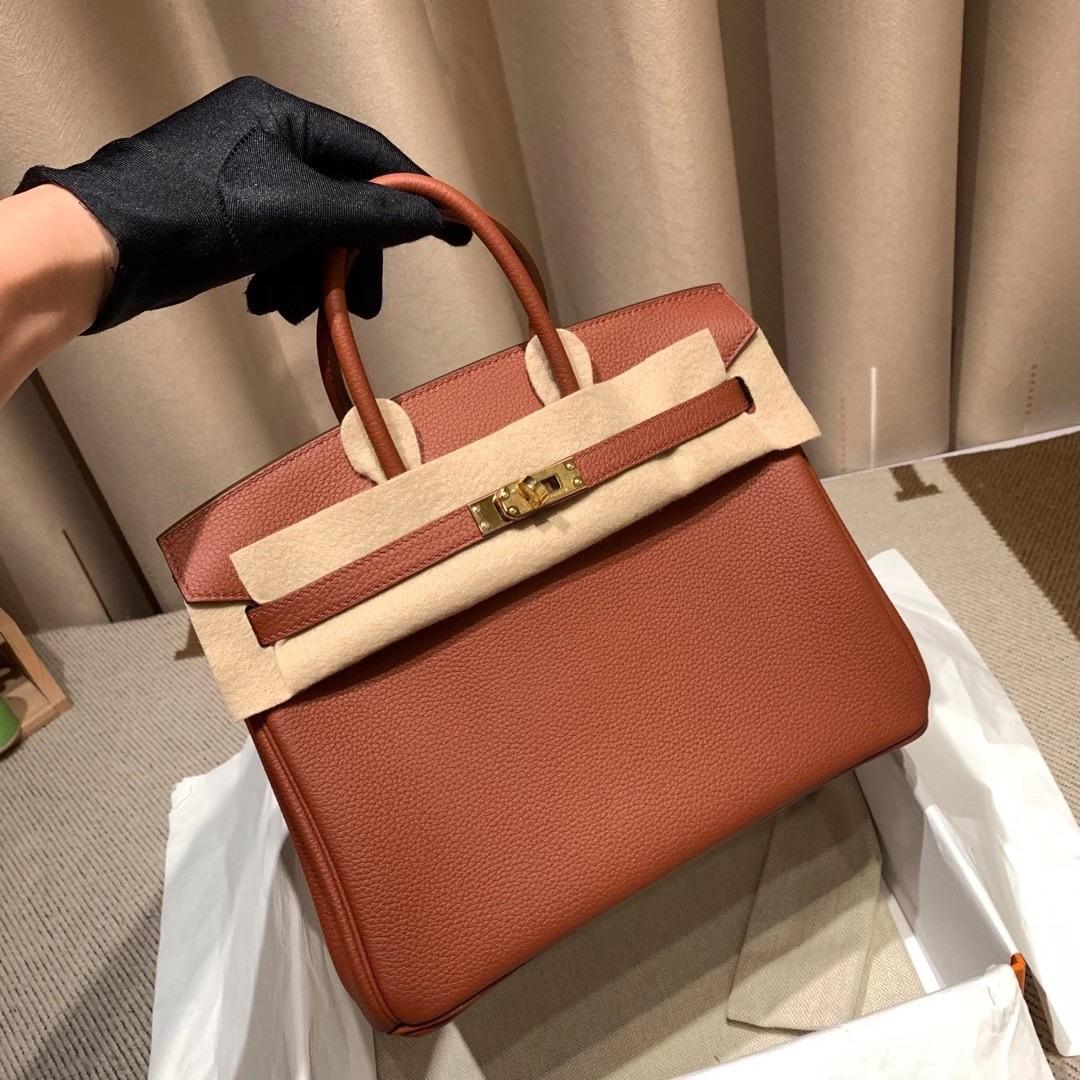 爱马仕包包 Birkin 25cm 法国原产Togo皮 蜡线手缝 4E枫叶棕 金扣