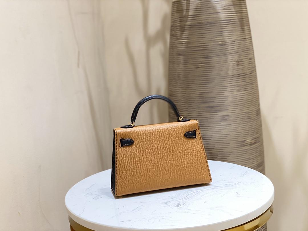 爱马仕包包 MiniKelly20cm37-金棕拼黑色金扣