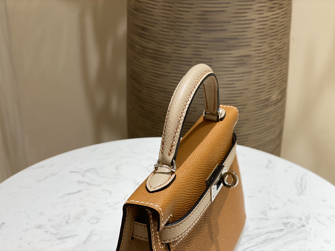 爱马仕包包 MiniKelly20cm37-金棕拼风衣灰银扣
