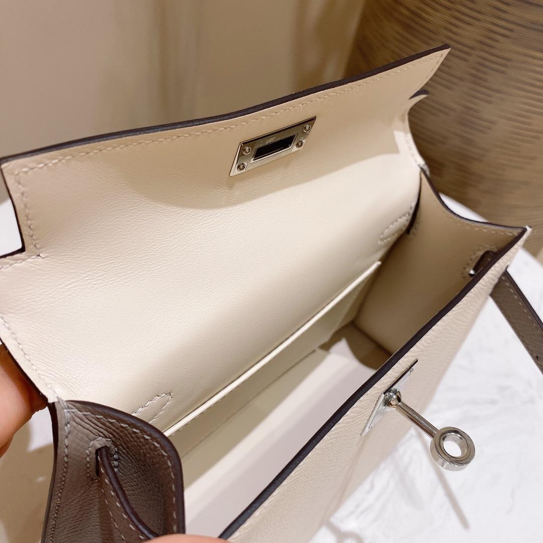 爱马仕包包 MiniKelly20cm10-奶昔白拼锡器灰银扣