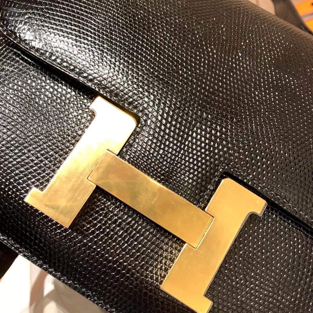 爱马仕包包工厂 Constance 24cm 蜥蜴皮 89黑色 金扣