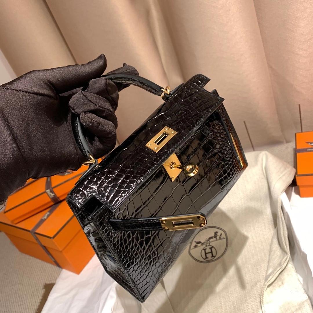 爱马仕包包工厂 Mini Kelly II 亮面方块美洲鳄鱼 89黑色 金/银扣