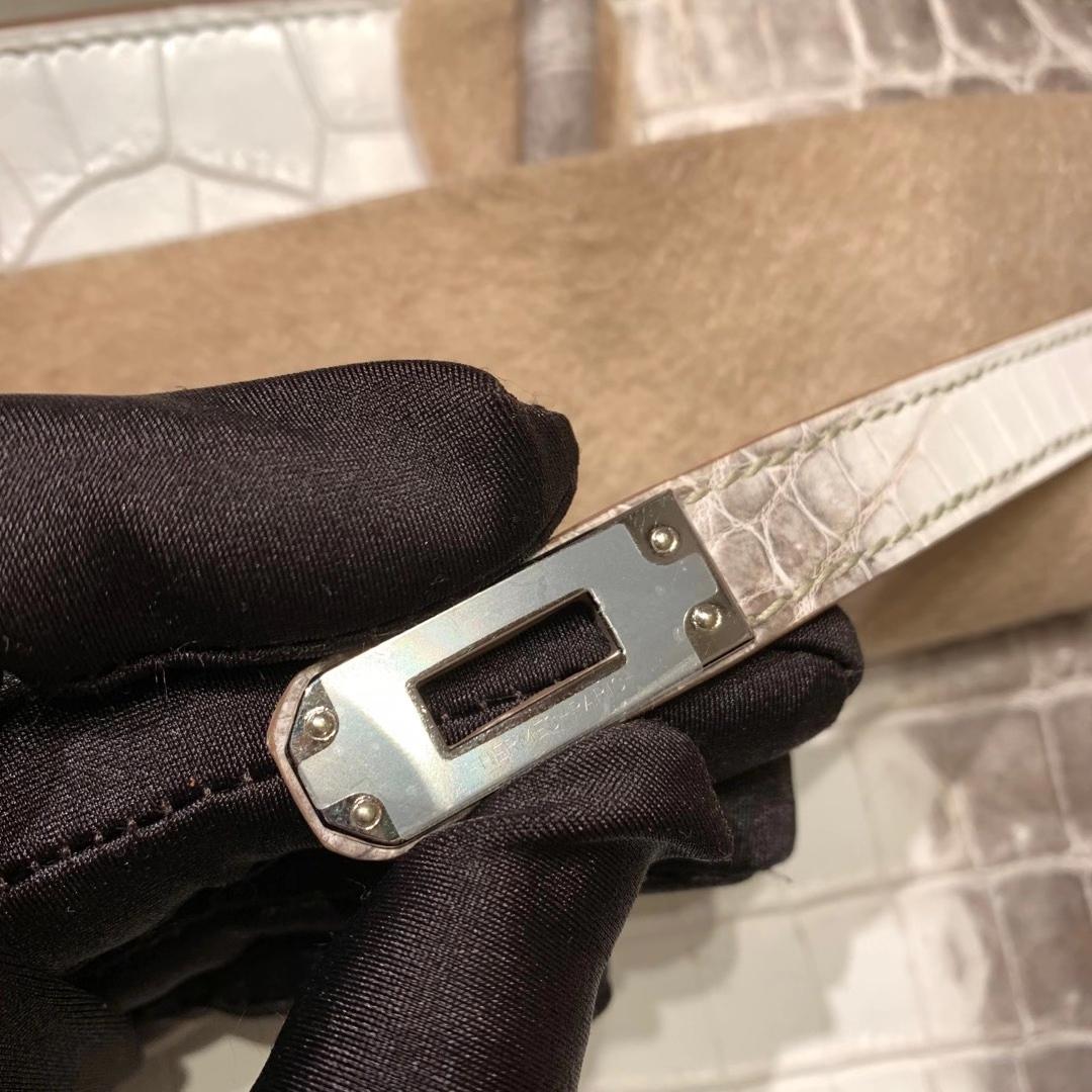 爱马仕包包工厂 Birkin 25cm 雾面两点尼罗鳄鱼 Himalaya 01喜马拉雅 银扣