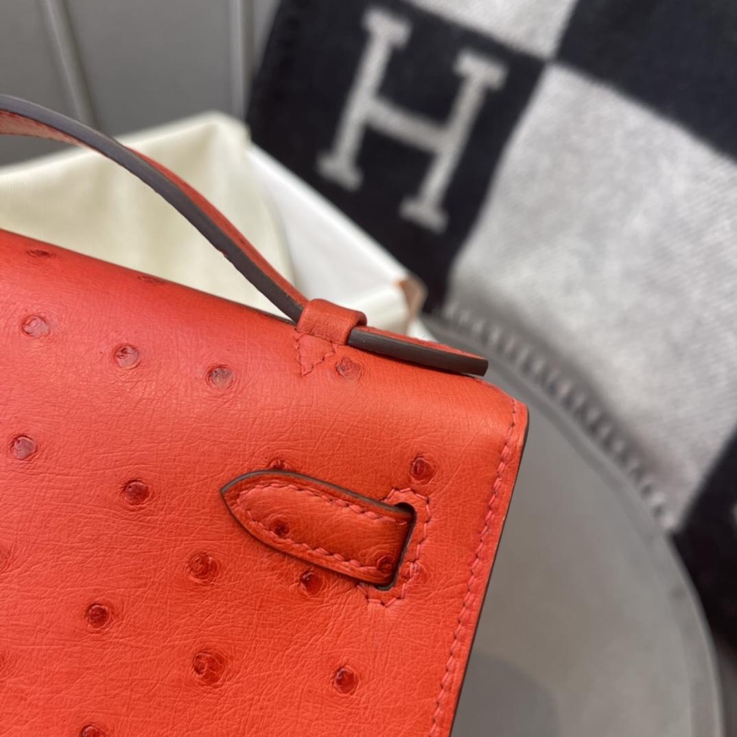 爱马仕包包工厂 Mini Kelly一代 鸵鸟皮 S5番茄红 金扣
