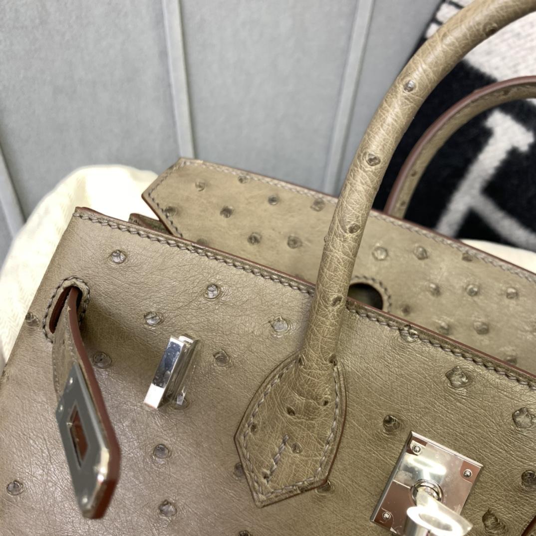爱马仕铂金包 Birkin 25cm 南非KK鸵鸟皮 M1新大象灰 银扣