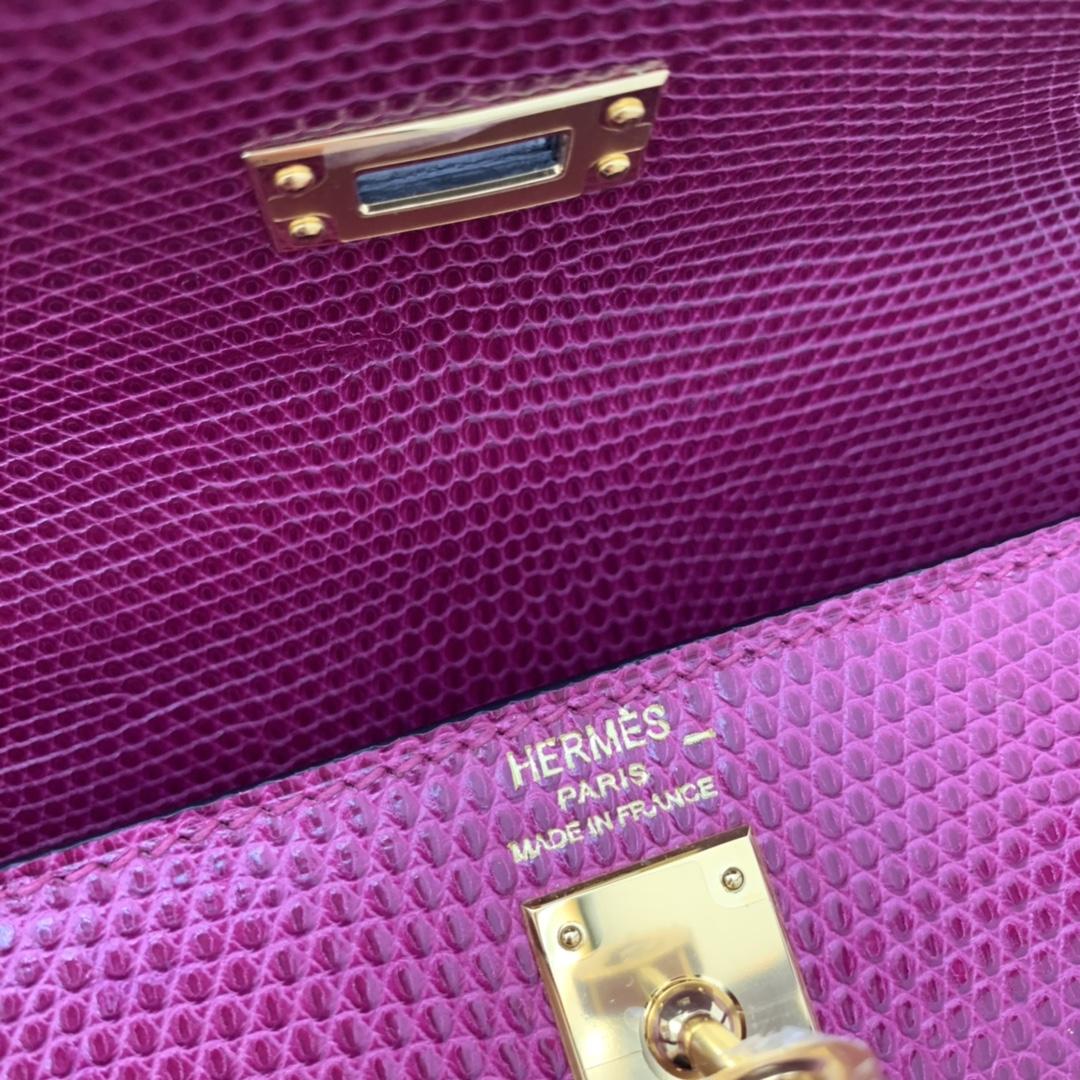 爱马仕包包工厂 Stock Kelly 25cm 进口西班牙蜥蜴皮 P9海葵紫 金扣