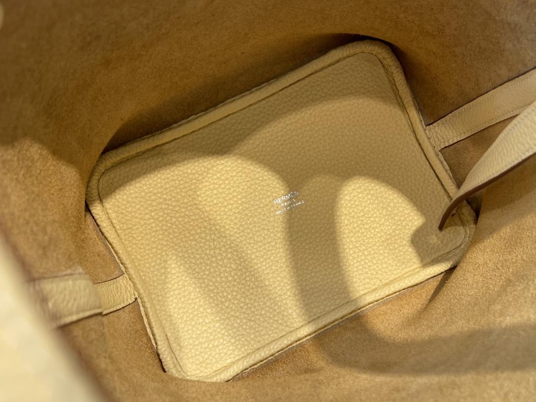 爱马仕包包工厂 Picotin菜篮子 18cm 进口TC皮 1Z小鸡黄 银扣