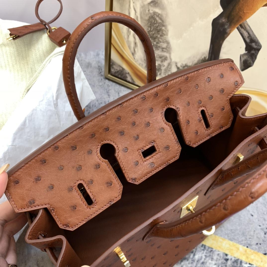 爱马仕铂金包 Birkin 25cm 南非KK鸵鸟皮 6C古铜色 金扣