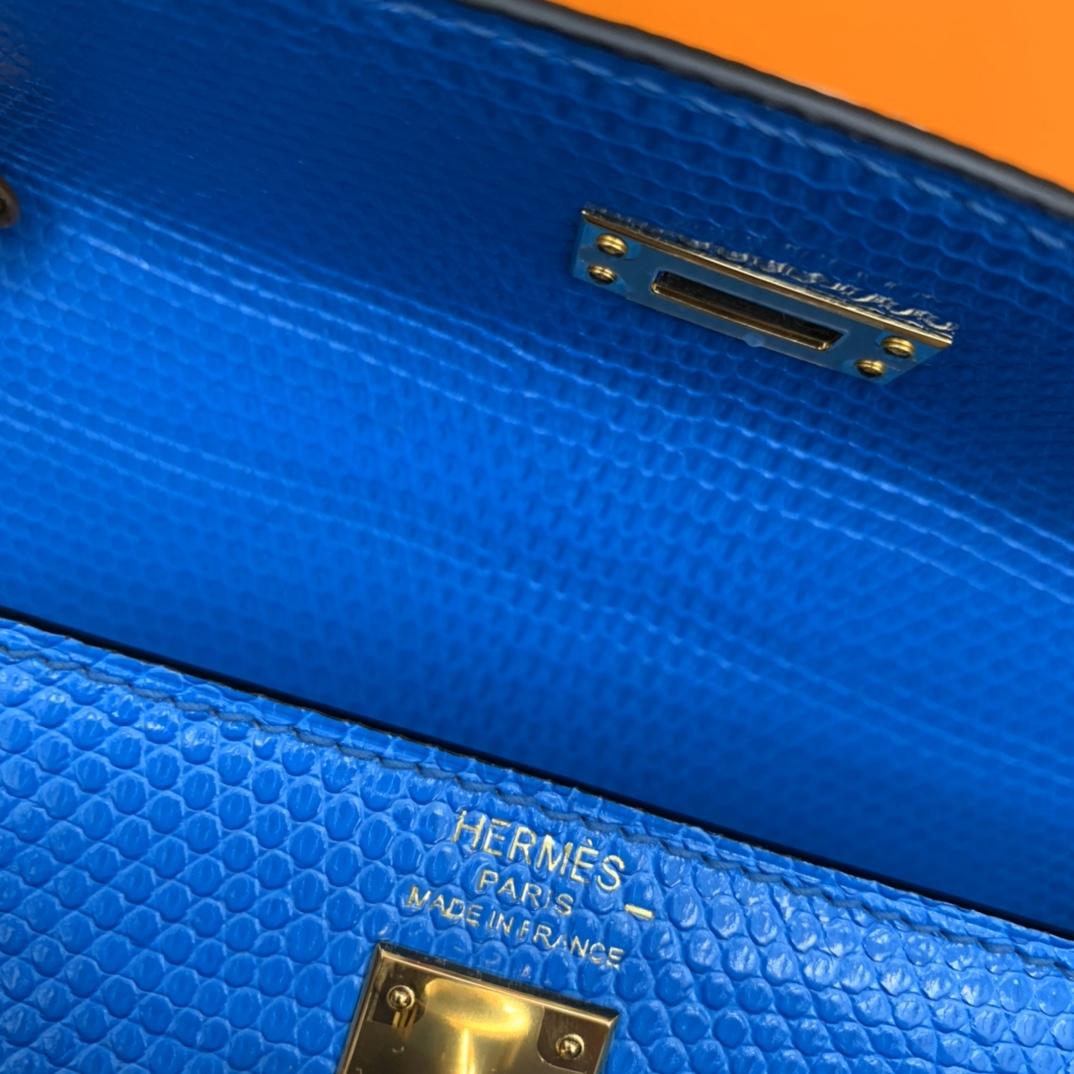 爱马仕包包工厂 Stock Kelly 25cm 进口西班牙蜥蜴皮 7M水彩蓝 金扣