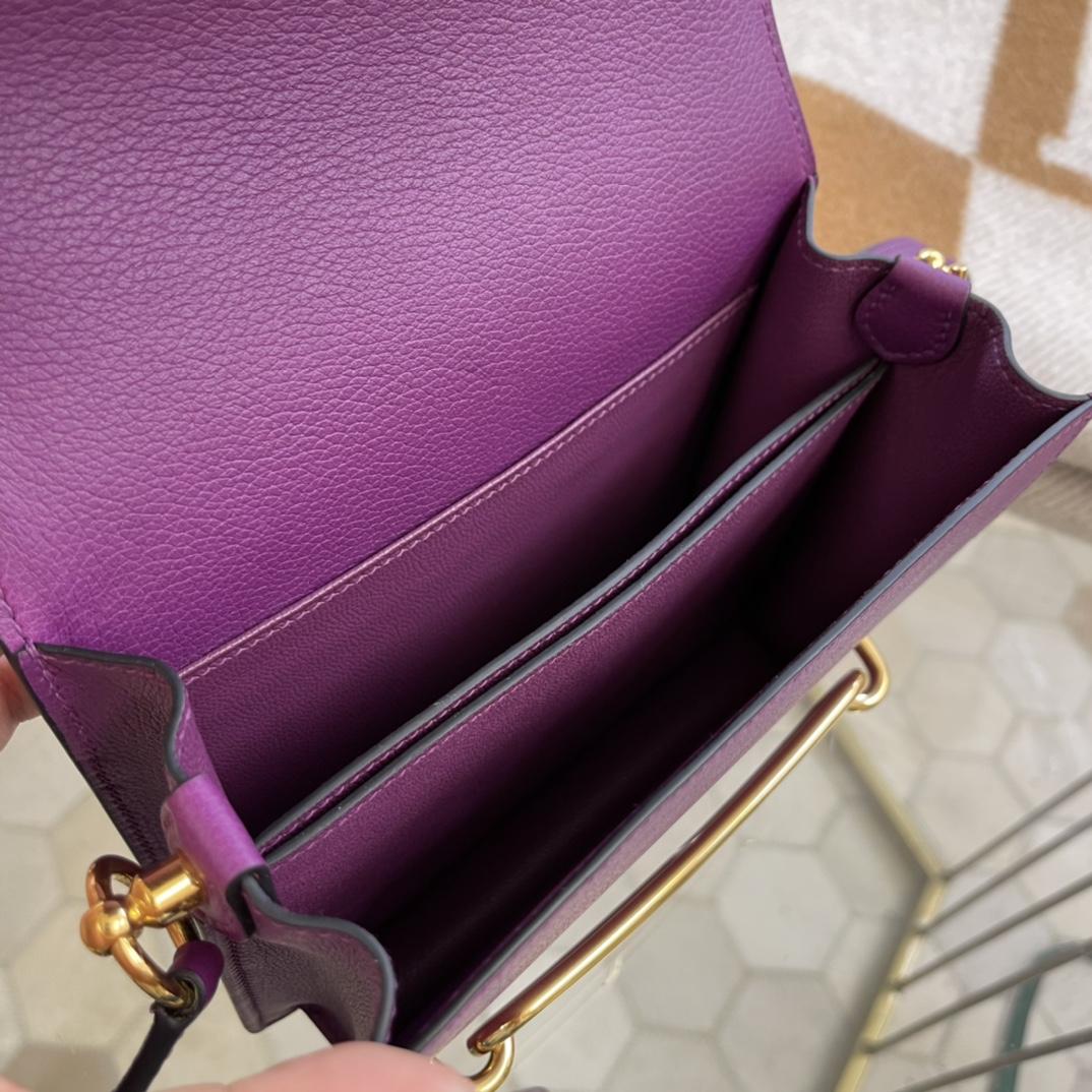 爱马仕包包工厂 Roulis猪鼻子 19cm Evercolor P9海葵紫 金扣