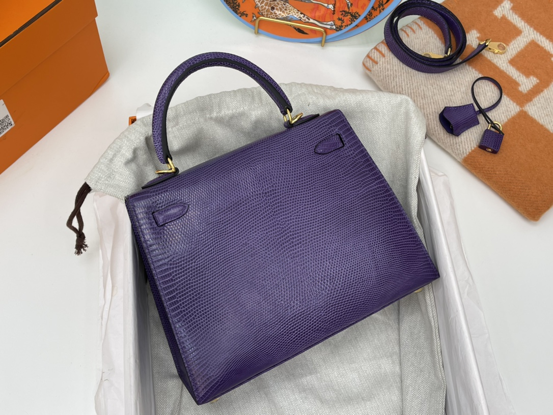爱马仕包包工厂 Kelly 25cm 蜥蜴皮 69紫罗兰 金扣